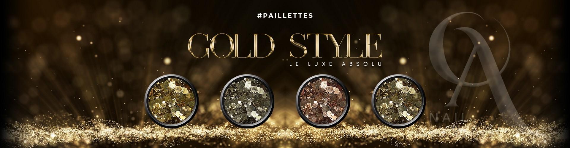 Paillettes Nail Art Gold Style